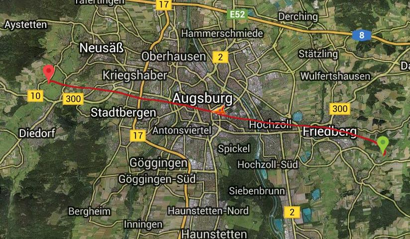 Unsere beliebteste Route: Von Ost nach West über Augsburg im Heissluftballon.