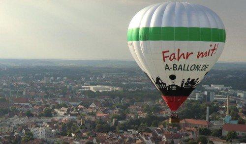 Unser Augsburg Heißluftballon über der Innenstadt 2018.