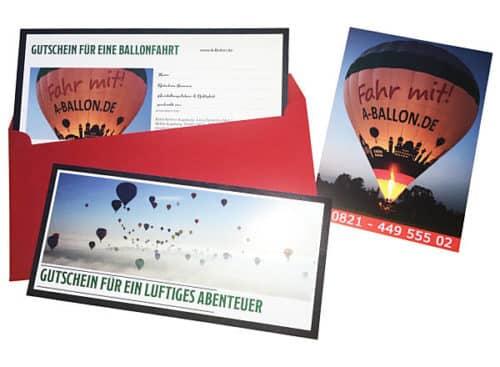 Gutscheine für eine Ballonfahrt
