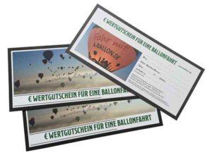 Wertgutschein für eine Ballonfahrt