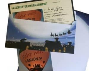 Weihnachtsgutschein für eine Ballonfahrt 2018