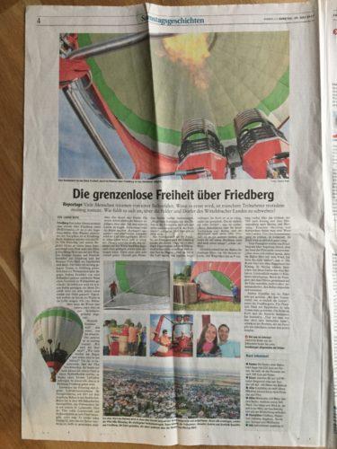Ballonfahrten Augsburg in der Friedberger Zeitung 2017