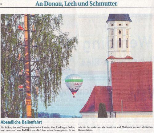 Ballonfahrten Augsburg in der Donauwörther Zeitung