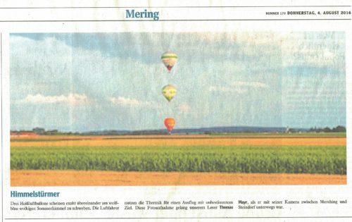 Ballonfahrten Augsburg in der Friedberger Zeitung 2016