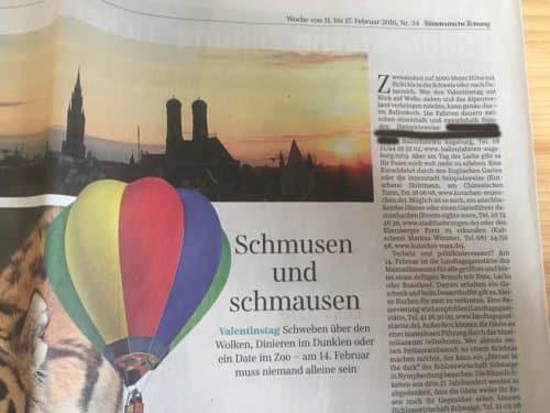 Ballonfahrten Deutschland in der Süddeutschen Zeitung
