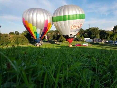 Betriebsausflug im Ballon mit 10 Personen von Friedberg 2018 aus.