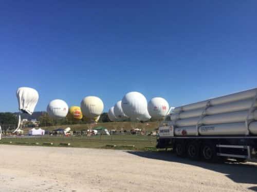Gasballone beim Gordon-Benett-Ballonrennen in Bern 2018