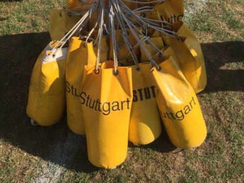 Sandsäcke eines Gasballons