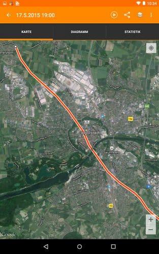 Fahrtroute einer Ballonfahrt über Ingolstadt