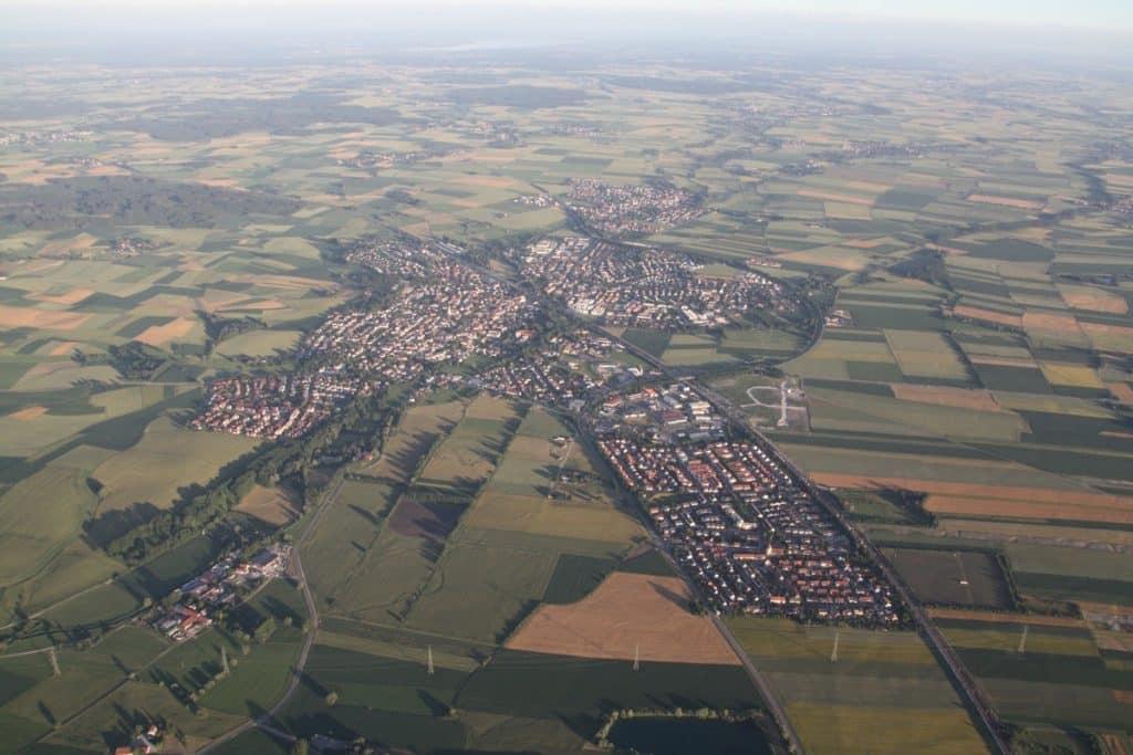 Mering aus der Luft - Ballonfahrt Foto